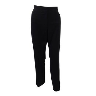 Tahari ASL Women's Petite Bi-Stretch Straight-Leg Pants - Black