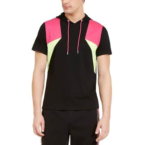 INC Mens Hoodie Black Size Medium M Colorblock Short Sleeve Drawstring