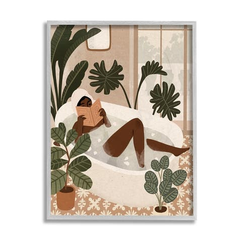 Stupell Industries Female Reading in Bath Tropical Palm Plants Framed Wall Art