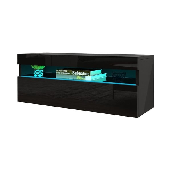 "Ada 1X All High Gloss Modern Wall Mounted Floating TV Stand, 39"" Width. Opens flyout."