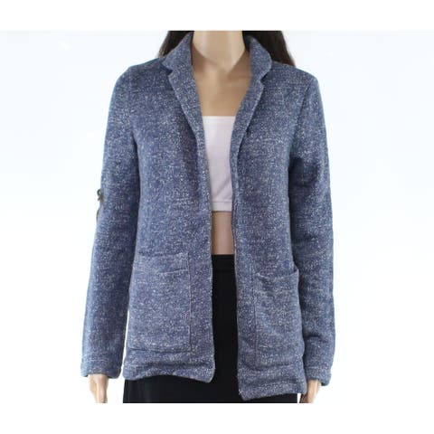 Crescent Womens Jacket Heather Blue Size XS Knit Marled Open-Front