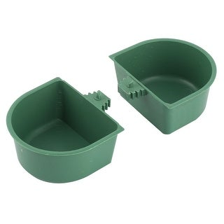 Plastic Food Water Liquid Feeding Pet Drinking Feed Cup Dark Green 2 Pcs