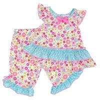 Laura Dare Baby Girls Pink Blue Polka Dot Floral Print 2 Pc Pajama Set