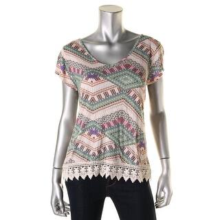 Hippie Rose Womens Juniors Crochet-Trim Criss-Cross Back Pullover Top - M