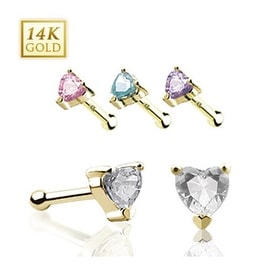 14 Karat Solid Yellow Gold Prong Heart CZ Nose Stud Ring - 20 GA (Sold Ind.)