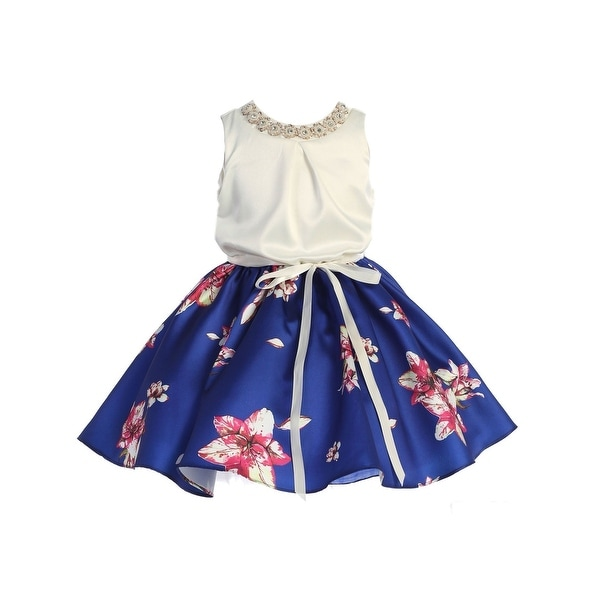 c10d0f7ce52 Shop TGI Kids Little Girls Royal Blue Floral Print Skirt Flower Girl Summer  Dress - Free Shipping Today - Overstock - 25542652