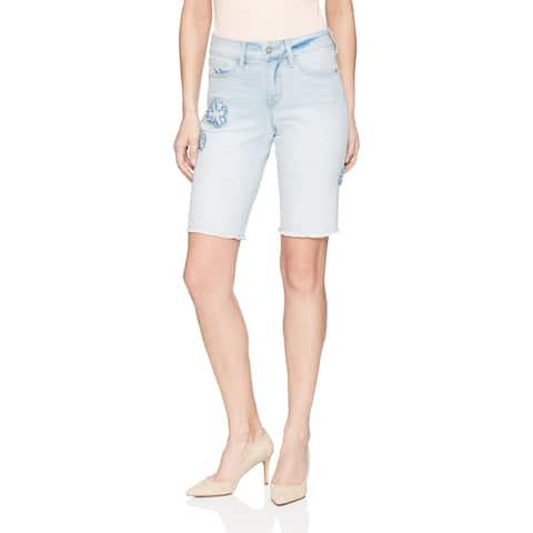 NYDJ Blue Women's Size 2 Raw Hem Embroidered Bermuda Walking Shorts