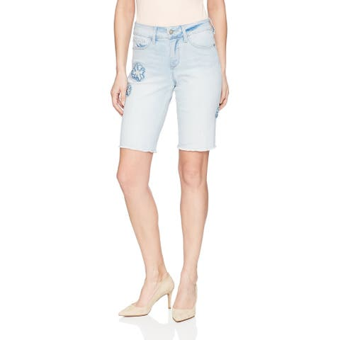 NYDJ Blue Womens Size 12 Embroidered Denim Bermuda Stretch Shorts
