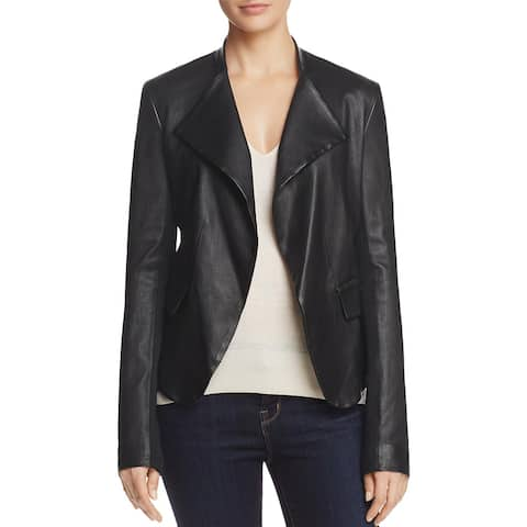 Theory Womens Peplum Jacket Lamb Leather Open Front - S