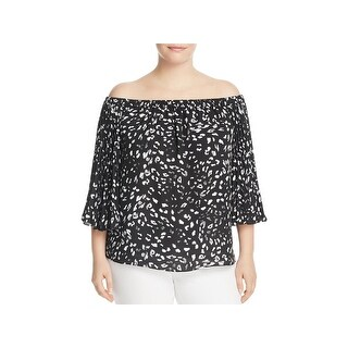 Vince Camuto Womens Plus Blouse Pleated Sleeves Off-The-Shoulder