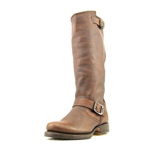 Frye Veronica Slouch Round Toe Leather Mid Calf Boot