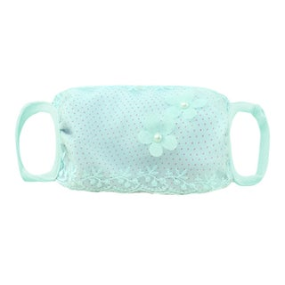 Women Beads Decor Floral Dots Pattern Daily Use Mouth Mask Beige