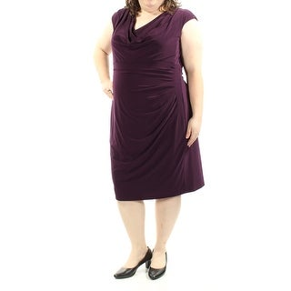 RALPH LAUREN $119 Womens New 1171 Purple Ruched Cap Sleeve Dress 16W Plus B+B