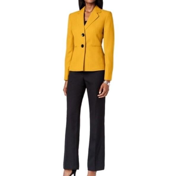 Le Suit NEW Gold Yellow Black Contrast Women's Size 4 Pant Suit Set