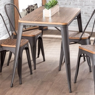 Link to Carbon Loft Acar Industrial Farmhouse Utility Table with Wood Top Similar Items in Dining Room & Bar Furniture