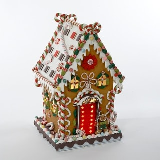 """13.25"""" Gingerbread Kisses Lighted Cookie and Candy House Christmas Decoration"""