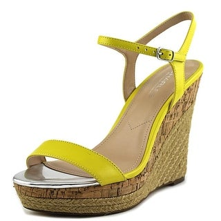 Charles By Charles David Arizona Women Open Toe Leather Yellow Wedge Sandal