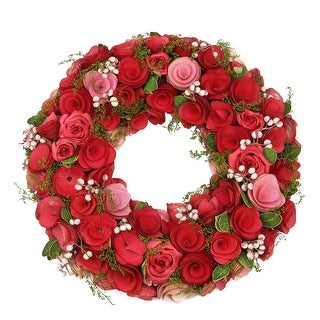 "12.5"" Red and Pink Flowers Green Leaves and White Berries Artificial Spring Floral Wreath"