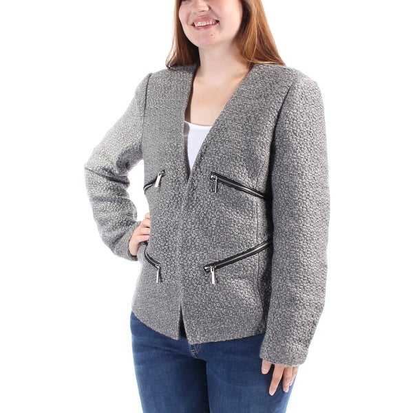 MICHAEL KORS Womens Gray Textured Zippered Suit Jacket Size: Size 0