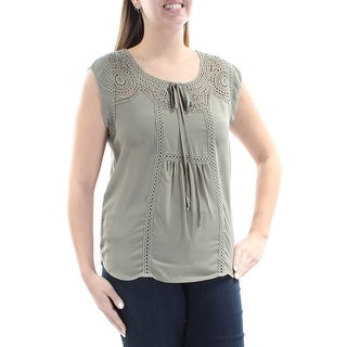 Womens Green Sleeveless Jewel Neck Casual Top Size L