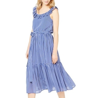 Link to MICHAEL Michael Kors Women's Dress Blue Size XS Belted A-Line Ruffle Similar Items in Dresses