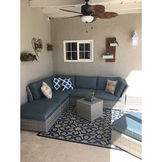 Corvus 8-piece Grey Wicker Patio Furniture Set with Blue Cushions