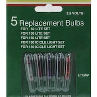 Pack of 5 Multi-Color Mini Christmas Replacement Bulbs - 2.5 Volts - multi