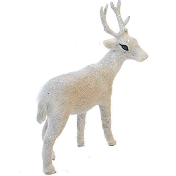 Frosted Kingdom Plush White Deer Facing Right Christmas Table Top Figurines 6''