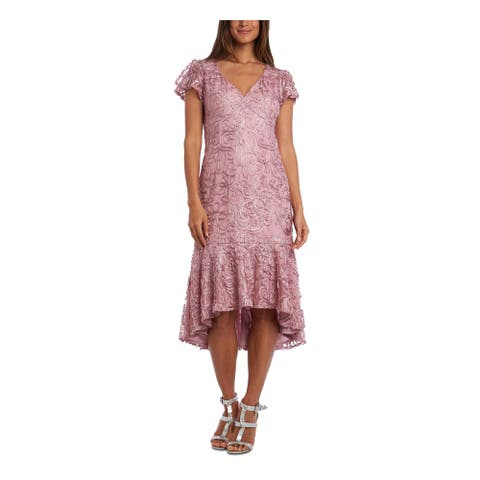 R&M RICHARDS Pink Short Sleeve Midi Hi-Lo Dress Size 12P