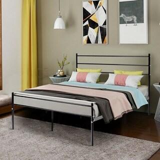 Costway Black Full Size Metal Bed Frame Platform Headboard 10 Legs Furniture
