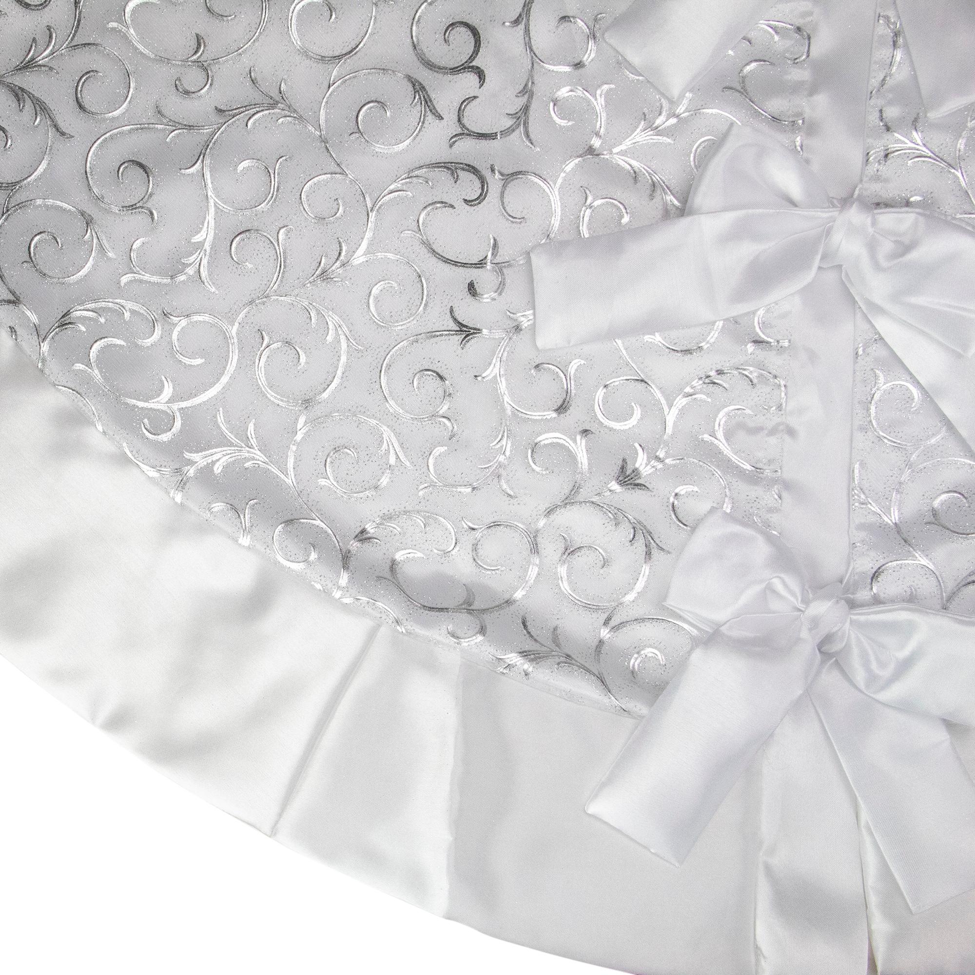48 Silver Metallic Filigree Christmas Tree Skirt With Sateen Bows Overstock 18182191