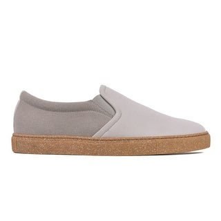 Brunello Cucinelli Light Grey Leather Speckled Gum Sole Slip On Sneakers