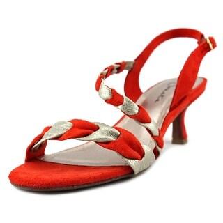 Sonata Esteem Women Open-Toe Canvas Orange Heels
