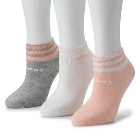 adidas Women's 3-Stripe Low Cut Socks (3-Pair), Medium, (Shoe Size 5-10)