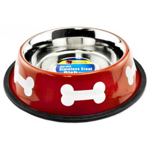 Ruffin' It 19232 Stainless Steel Fashion Bowl, 32 Oz, Red with White Bones