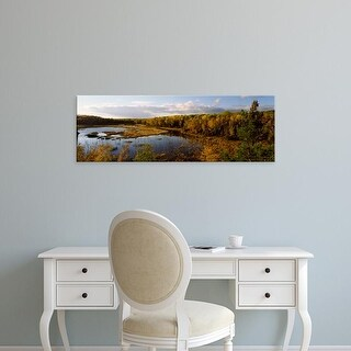 Easy Art Prints Panoramic Image 'Lake in autumn, Wood Lake, Superior National Forest, Minnesota' Canvas Art