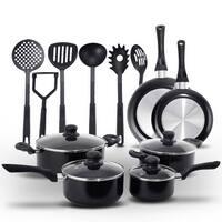 Costway 16 Piece Non Stick Cooking Kitchen Cookware Set Pots And Pans Kitchen Set - Black
