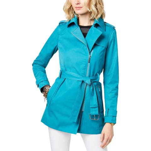 MICHAEL Michael Kors Womens Trench Coat Asymmetric Water Resistant