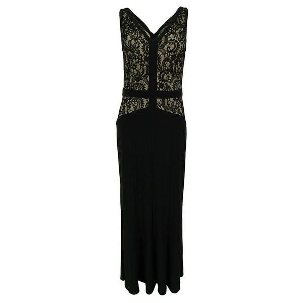 Ralph Lauren Women\u0026#x27;s Sleeveless Lace V-Neck Dress - Black/