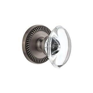 Grandeur NEWPRO_DD_NA  Newport Solid Brass Rose Dummy Door Knob Set with Provence Crystal Knob