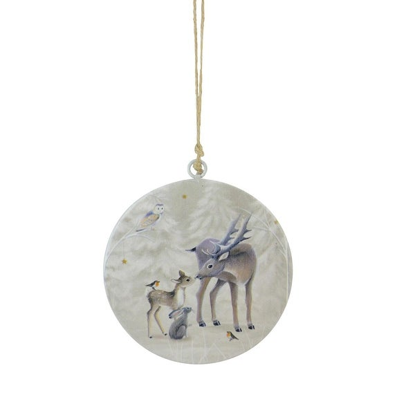 """6"""" Winter Light Reindeer, Fawn and Forest Friends Christmas Disc Ornament"""