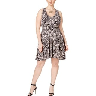 Jessica Simpson Womens Plus Casual Dress Printed Keyhole