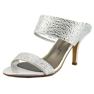 De Blossom Collection Nova-19 Women Open-Toe Synthetic Silver Mules