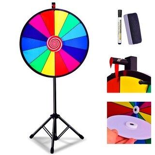 Costway 24'' Editable Dry Erase Color Prize Wheel Extension Base Fortune Spinning Game