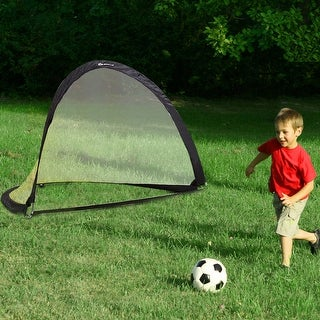 Set of 2 Portable Pop-Up Soccer Goals 6' 4' 2.5' for Backyard w bag and 2 stakes - yellow + black