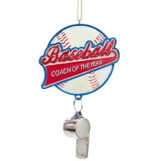 """5"""" Glittered Red, Blue and White """"Baseball Coach of the Year"""" Sports Christmas Ornament"""