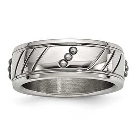 Stainless Steel Polished Beaded Grooved Ring (8 mm) - Sizes 8 - 13