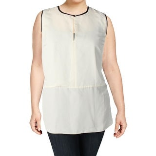 Lauren Ralph Lauren Womens Plus Blouse Contrast Trim Sleeveless