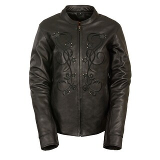 Womens Leather Reflective Star Jacket Rivet Detail