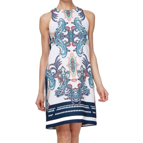 SLNY Womens Dress Navy White Size 4 Damask Paisley Print Texture Shift
